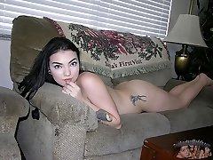 Fabulous Inked Amateur Black Haired Babe - Aries Model