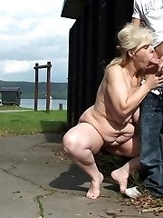 Chubby mature with a nasty fuck-hole is filled outdoors by the young man
