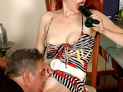 Caught with a dildo ponytailed girl getting a real thing from old lusty guy