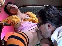 Tasty girlie in stripy stockings gets groped and pussy eaten by an old man
