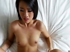 Asian ravaged in the bed