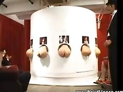 Asian booties sticking out of gloryholes