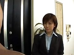 Yukino undresses office suit while fellating