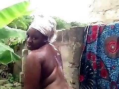 african babe takes a douche