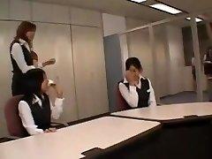 Oriental CFNM fellow wanks in office