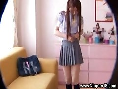 Asian schoolgirl gets steamy for fortunate voyeur
