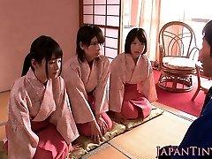 Japanese geishas cocksucking in asian fourway