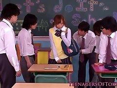 Japanese bukkake teen in class masturbating cocks
