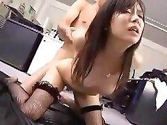Japanese employee works her boss for a little after sex reward