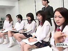 Subtitled CFNM Japanese schoolgirls naked art class