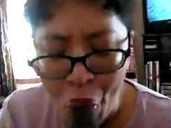 Chinese Milf deepthroat dark-hued cock many times