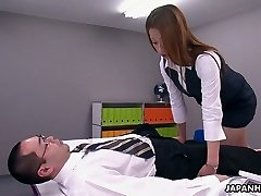 This Asian office slut is a control freak and she loves to Sixty-nine