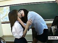 Subtitled Japanese schoolgirls teacher kiss interviews