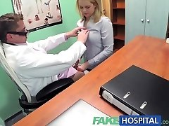 FakeHospital Killer blond saleswoman gets fucked on the medics desk to secure an order