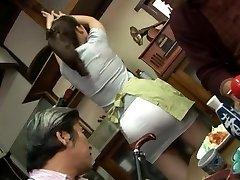 Mature fucking threesome with Mirei Kayama in a mini skirt