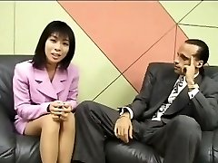 Puny Japanese reporter swallows jizz for an interview