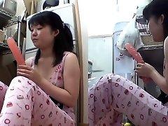 Asian nubile plunges dildo