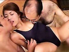 Beautiful young babe has two kinky older guys enjoying her lo