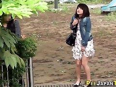Embarrassed chinese peeing