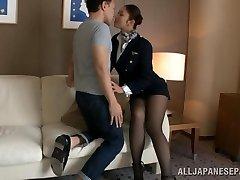 Scorching stewardess is an Asian dame in high heels