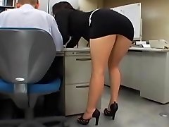 Japanese office dame gets fucked by two