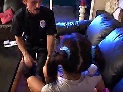 Nubile babysitter lily scared till  the police arrived