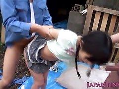 גמיש facialized אסיה בני נוער mmf שלישייה