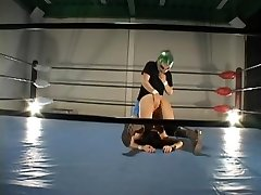 Buxomy hairy Jap penetrated in a wrestling ring