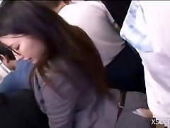 Japanese slut poked clothed in the bus
