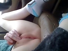 Chic 'bating Her Juicy Pussy in Truck Hidden Upskirt Close-ups