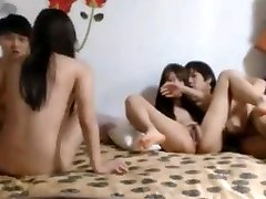 Steaming Korean student 4P in front of web cam