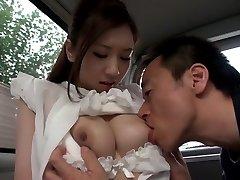 Exotic Japanese chick Arisa Aizawa in Horny big melons, car JAV pin