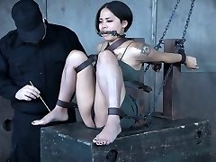 Pretty Chinese stunner Milcah Halili is punished with vibrator and anal beads