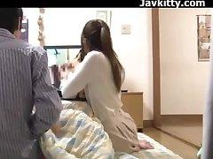 Japanese First-timer Couple Observe Porn Together