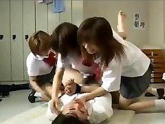 Strapon gang-fuck by 3 japanese schoolgirls