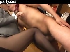 Secretary Cum On Her Pantyhose Asian