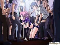 Beauty Japanese anime gang-bang in the public show