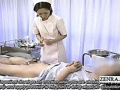 Subtitled medical CFNM handjob popshot with Japan nurse