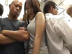 Astonishing Asian damsel with hairy pussy gets boinked in the train
