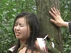 Chinese army girl tied to tree 2