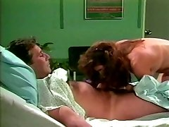 Dark haired lut hops on man-meat of one patient in a hospital
