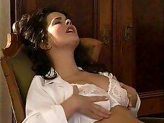 Lesbian Secretary Licks the Hairy Labia Medic