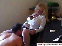 Mature hot secretary swallow cum