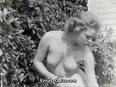 Nudist Girl Feels Good Bare in Garden (1950s Vintage)