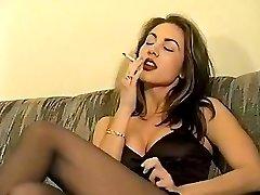 Retro smoking brunette