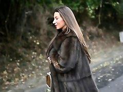 exhibitionist: nude under luxe fur coat & antique garterbelt