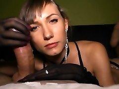 Sensuous handjob with nylon gloves!