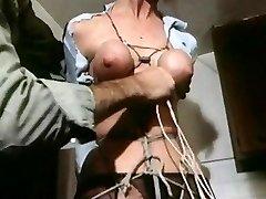 Strung up - vintage bondage breasts bound taut
