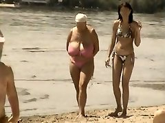 Retro ginormous tits mix up on Russian beach