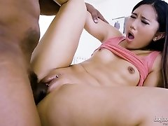 Cute Thai chick May Thai is pummeled by monstrous black mandingo